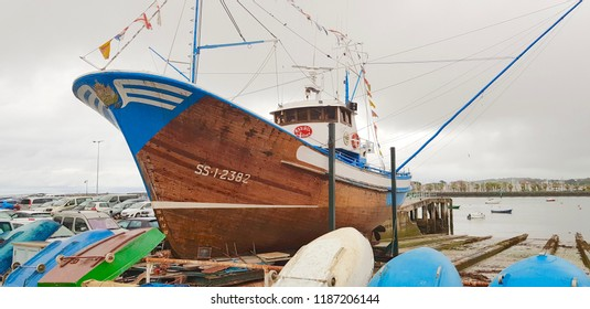 HONDARRIBIA, SPAIN - SEPTEMBER 21: Fishing boat in an old shipyard on September 21, 2018 in Hondarribia, Spain.
