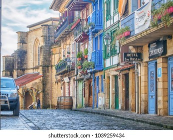 HONDARRIBIA, SPAIN-FEBRUARY 15, 2018: Modern architecture in the streets of the town