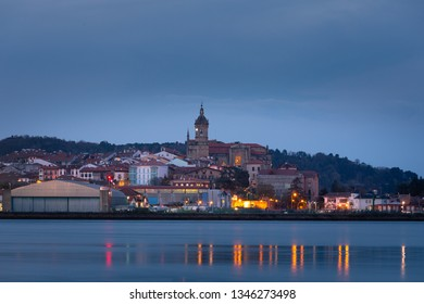 Hondarribia town at the east basque coast on the Txingudi bat with the Bidasoa river next to Irun and Hendaia, Basque Country.