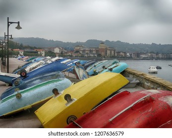 Hondarribia Village in Basque Country Spain View with Boats