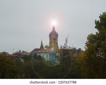 Hondarribia Village in Basque Country Spain Chruch Tower View