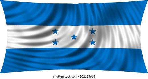 Honduran national official flag. Republic of Honduras patriotic symbol, banner, element, background. Correct colors. Flag of Honduras waving, isolated on white, 3d illustration