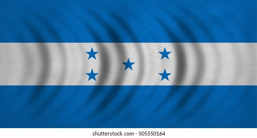 Honduran national official flag. Republic of Honduras patriotic symbol, banner, element, background. Correct colors. Flag of Honduras wavy with real detailed fabric texture, accurate size illustration