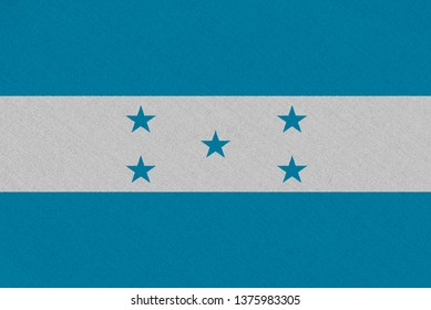 Honduras fabric flag. Patriotic background. National flag of Honduras