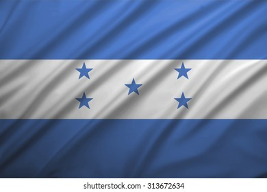 Honduras flag blowing in the wind. Background texture.