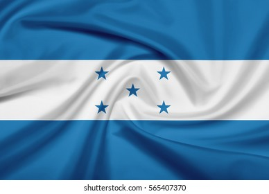 Honduras flag with fabric texture. Flag of Honduras. 3D illustration.