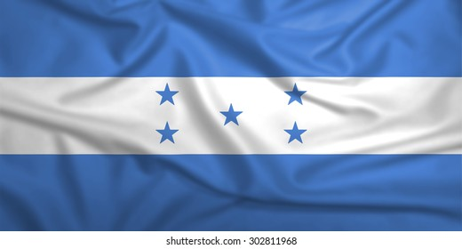 Honduras flag on the fabric texture background,Vintage style