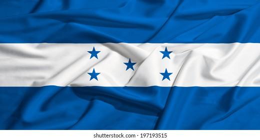 Honduras flag on a silk drape waving