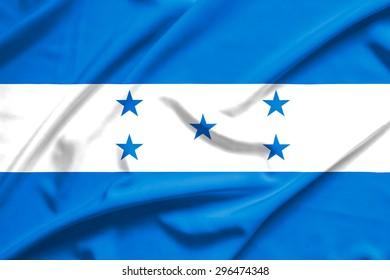 Honduras flag on soft and smooth silk texture