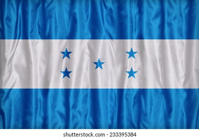 Honduras flag pattern on the fabric texture ,vintage style