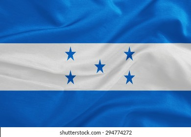 Honduras flag pattern on the fabric texture