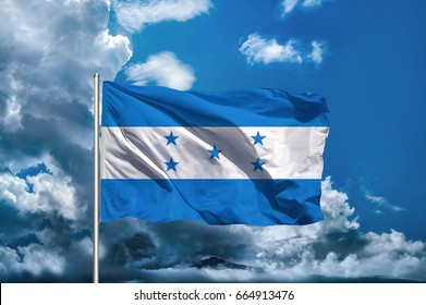 Honduras flag with sky background