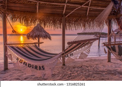 Honduras hammock at the beach for sunset