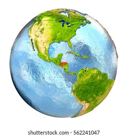 Honduras highlighted in red on Earth. 3D illustration with highly detailed realistic planet surface isolated on white background. Elements of this image furnished by NASA.