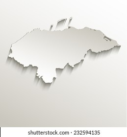 Honduras map card paper 3D natural raster