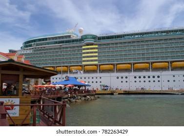 Honduras, Mexico-August 16, 2016: A Royal Caribbean cruise ship is pictured docked in Honduras, Mexico.
