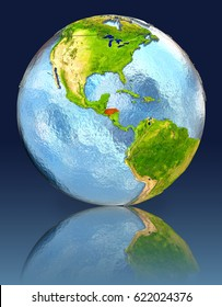 Honduras on globe with reflection. Illustration with detailed planet surface. Elements of this image furnished by NASA.