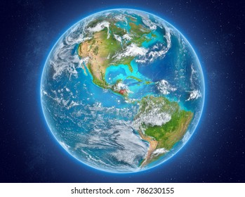 Honduras in red on model of planet Earth with clouds and atmosphere in space. 3D illustration. Elements of this image furnished by NASA.