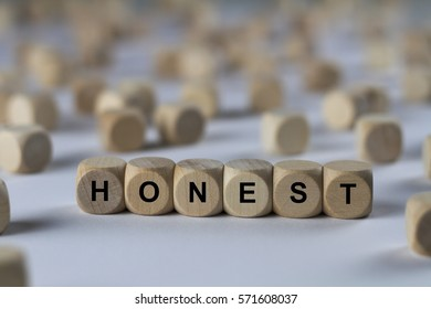 honest - cube with letters, sign with wooden cubes