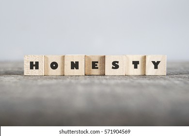 HONESTY word made with building blocks