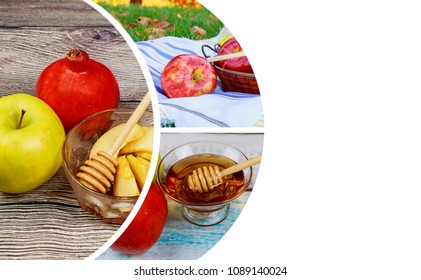 Honey and apples on wooden table for Rosh Hashanah traditional food of jewish New Year celebration Copyspace background Shofar and tallit