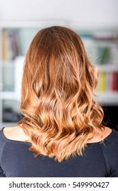 Honey Balayage Hair On Young Woman