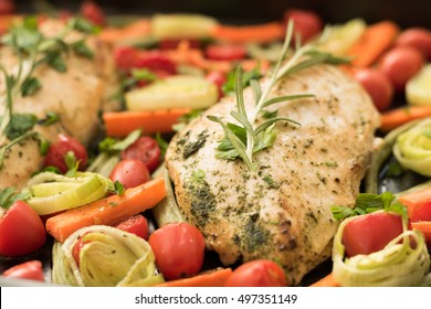 Honey Balsamic Chicken Breasts and vegetables