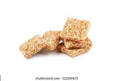 Honey bars with peanut on white background.