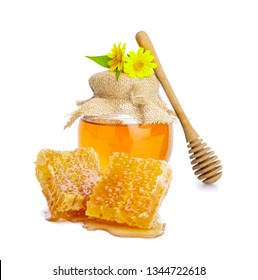 Honey bee in jar and honeycomb with honey dipper isolate on white background, bee products by organic natural ingredients concept