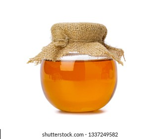 Honey bee in jar  isolate on white backgroun, bee products by organic natural ingredients concept