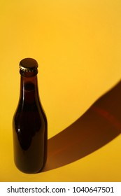 Honey beer on a yellow background