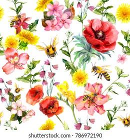 Honey bees, meadow flowers, summer grasses, plants. Repeating summer pattern. Watercolor