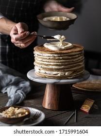 The honey cake. Dark background