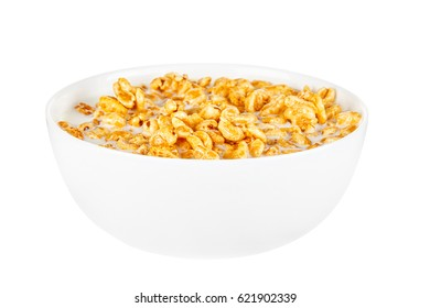 Honey cereals with milk for breakfast isolated on white background
