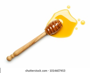 Honey dipper on white background - Top view