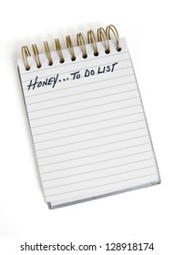 "A ""Honey To Do List"" of items the Honey of the family suggests to her husband"