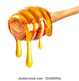 Honey dripping  isolated on white