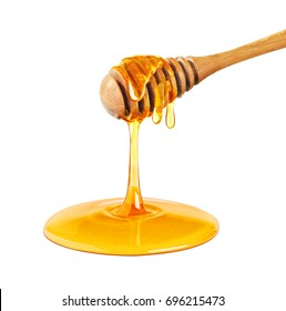 Honey dripping isolated on a white background, bee products by organic natural ingredients concept