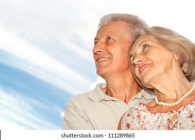 Honey elderly couple went for a walk together