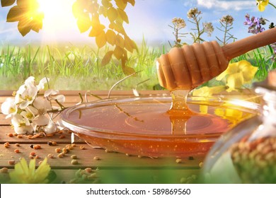 Honey falling into a glass dish on a wooden table with flowers and bee pollen. Green nature background sunny and blue sky. Front view. Horizontal composition
