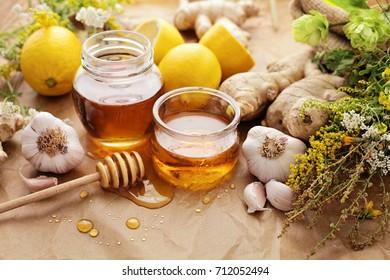 Honey, garlic, herbs, lemon and ginger - natural medicine, healthy food