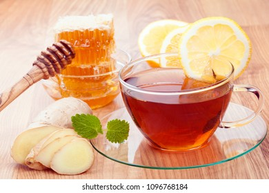 Honey, ginger, hot tea and lemon - healthy products for fast recovery