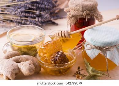 Honey, ginger, lavender, tea, hoheycomb, lemon