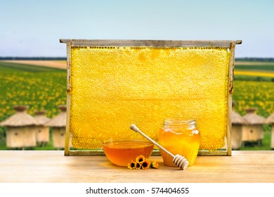 Honey in glass bowl, wooden honey dipper and honeycombs in wooden frame with full cells of honey sealed with wax on wooden table on background of wooden beehives and of blooming field of sunflowers.