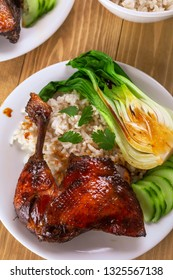 Honey Glaze Roast Duck with Bok Choi and Rice