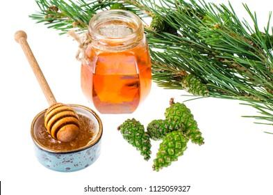 Honey from green pine cones. Studio Photo