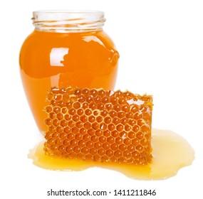 honey with honeycomb isolated on white background