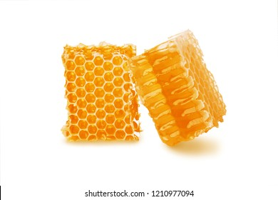 Honey in honeycomb two pieces isolated on white background, close-up