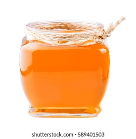 Honey jar isolated on white background.