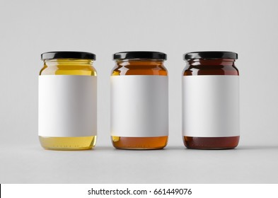 Honey Jar Mock-Up - Three Jars. Blank Label